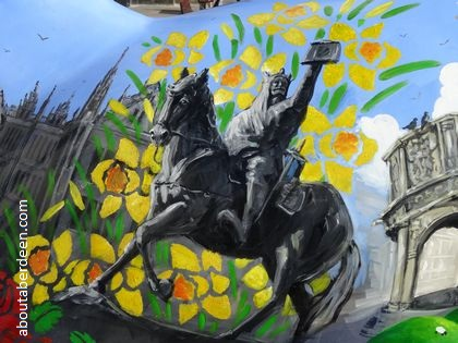 Robert the Bruce on horse wearing armour painting