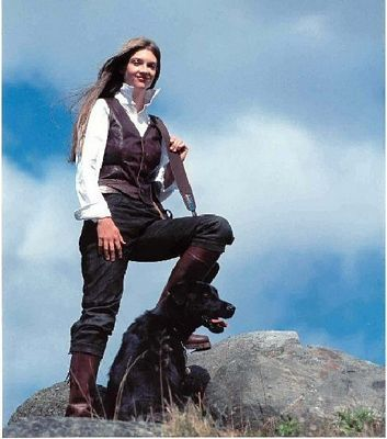 Scottish Female Gamekeeper and Black Lab