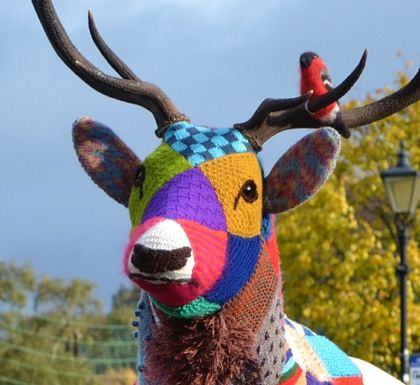 knitted-bird-sitting-on deer