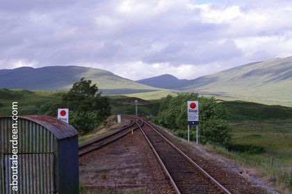 Scottish railway track through hills
